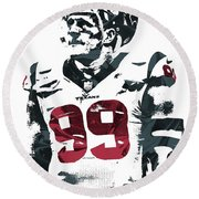 Jj Watt Houston Texans Pixel Art 4 Round Beach Towel by Joe Hamilton