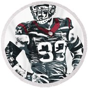 Jj Watt Houston Texans Pixel Art 5 Round Beach Towel by Joe Hamilton
