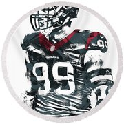 Jj Watt Houston Texans Pixel Art 6 Round Beach Towel by Joe Hamilton