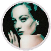 Joan Crawford - Pop Art Round Beach Towel