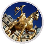 Joan Of Arc - Paris Round Beach Towel by Therese Alcorn