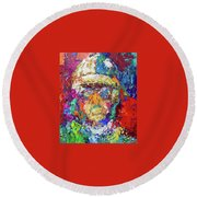Jockey Portrait Round Beach Towel