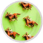 Jockeys And Horses Round Beach Towel