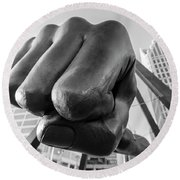 Joe Louis Fist Black And White Detroit  Round Beach Towel