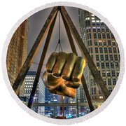 Joe Louis Fist Detroit Mi Round Beach Towel by Nicholas  Grunas