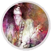 Joe Perry Aerosmith Round Beach Towel
