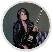 Joe Perry Of Aerosmith Painting Round Beach Towel