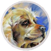 Round Beach Towel featuring the painting Joe The Cocker by Rae Andrews