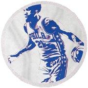 Joel Embiid Philadelphia Sixers Pixel Art Round Beach Towel