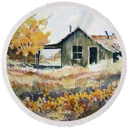 Round Beach Towel featuring the painting Joe's Place II by Sam Sidders