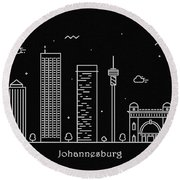 Johannesburg Skyline Travel Poster Round Beach Towel