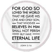 John 3-16 - Spiritual Wall Art - Bible Verses Art Round Beach Towel