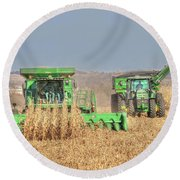 John Deere Combine Picking Corn Followed By Tractor And Grain Cart Round Beach Towel
