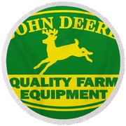 John Deere Farm Equipment Sign Round Beach Towel by Randy Steele