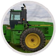 Round Beach Towel featuring the photograph John Deere Green 3159 by Guy Whiteley