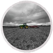 John Deere Tractor On The Farm Round Beach Towel