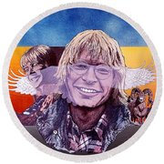John Denver Round Beach Towel