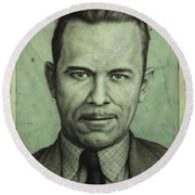 John Dillinger Round Beach Towel by James W Johnson