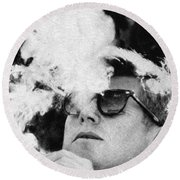 John F Kennedy Cigar And Sunglasses Black And White Round Beach Towel
