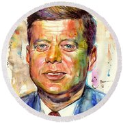 John F. Kennedy Painting Round Beach Towel