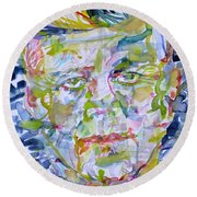 Round Beach Towel featuring the painting John F. Kennedy - Watercolor Portrait.2 by Fabrizio Cassetta