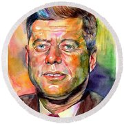 John F. Kennedy Watercolor Round Beach Towel