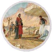 Round Beach Towel featuring the photograph John Frederick Lewis Mount Sinai 1842 by Munir Alawi