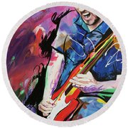 Round Beach Towel featuring the painting John Frusciante by Richard Day