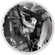 John Glenn Entering Friendship 7 Spacecraft Round Beach Towel