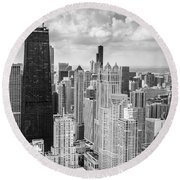 John Hancock Building In The Gold Coast Black And White Round Beach Towel by Adam Romanowicz