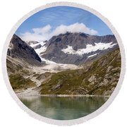John Hopkins Glacier 5 Round Beach Towel by Richard J Cassato