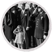 John Kennedy Jr Salute To Father Round Beach Towel by Daniel Hagerman