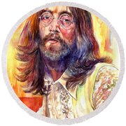 John Lennon Watercolor Round Beach Towel