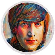 John Lennon Young Portrait Round Beach Towel