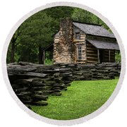 Round Beach Towel featuring the photograph John Oliver Cabin by Andrea Silies