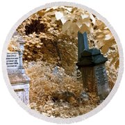 Round Beach Towel featuring the photograph Autumnal Walk At Abney Park Cemetery by Helga Novelli