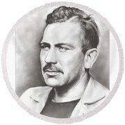 John Steinbeck Round Beach Towel by Greg Joens