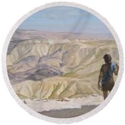 John The Baptist In The Desert Round Beach Towel