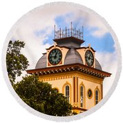 John W. Hargis Hall Clock Tower Round Beach Towel