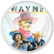 John Wayne Round Beach Towel by Bryan Bustard