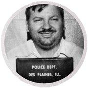 John Wayne Gacy Mug Shot 1980 Black And White Round Beach Towel
