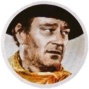 John Wayne, Vintage Hollywood Actor Round Beach Towel by Mary Bassett