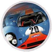 John Wyer's Gulf Porsche 917 Round Beach Towel by Alain Jamar