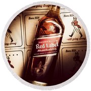 Johnnie Walker Red Label Blended Whisky  Round Beach Towel