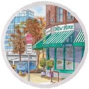 Johnnie's Pizzeria En Centrury City, California  Round Beach Towel