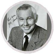 Johnny Carson Autographed Print Round Beach Towel
