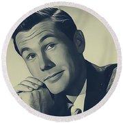 Johnny Carson, Vintage Entertainer Round Beach Towel