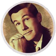 Johnny Carson, Vintage Entertainer Round Beach Towel