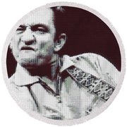 Johnny Cash Beer Cap Mosiac Round Beach Towel