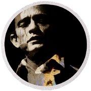 Johnny Cash - I Walk The Line  Round Beach Towel